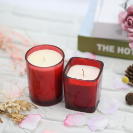 Wholesale home decoration red sliver scented soy wax candle in tin jar