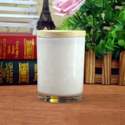 Luxury scented soy customized candle in square glass jar with wooden lid for gift