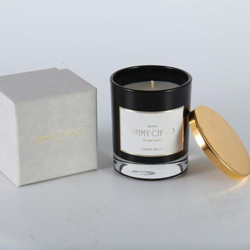 Wholesale black customized scented soy glass Jar 220 g Candle with luxury packaging