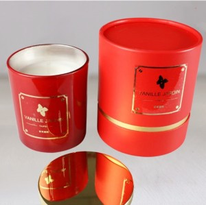 Hotsale soy scented electroplate candle with red round box Luxury candle