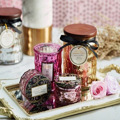Wholesale soy wax customized pillar soy candle scented luxury wedding candle glass jar home decoration