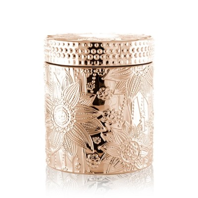 Selling carved decorative colored gold candle jar with lid with Tealight candle wholesale