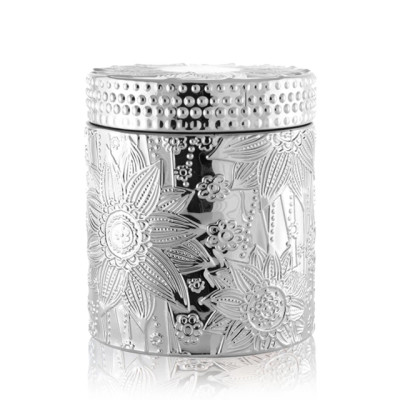 Selling carved decorative colored silver candle jar with lid with Tealight candle wholesale