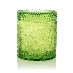 Selling carved decorative colored green candle jar with lid with Tealight candle wholesale