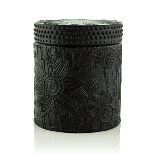 Selling carved decorative transprant candle jar with lid with Tealight candle wholesale