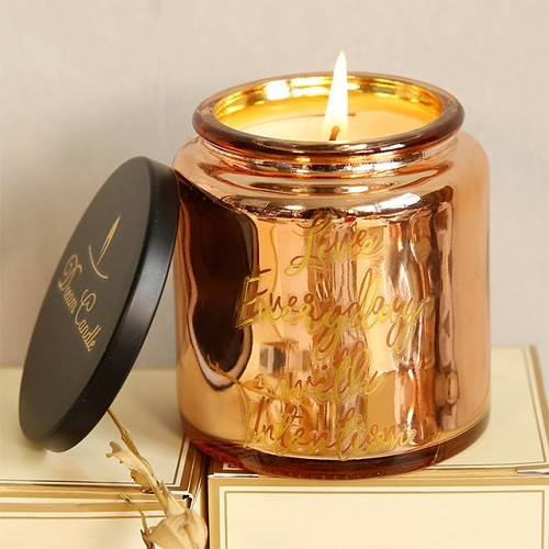 Luxury wedding craft golden scented candle glass jar candle holder