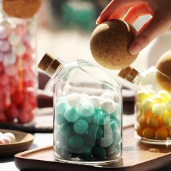 500ml Food Jar Clear Heat Resistant Borosilicate Glass Candy Jar With Cork Ball Lid