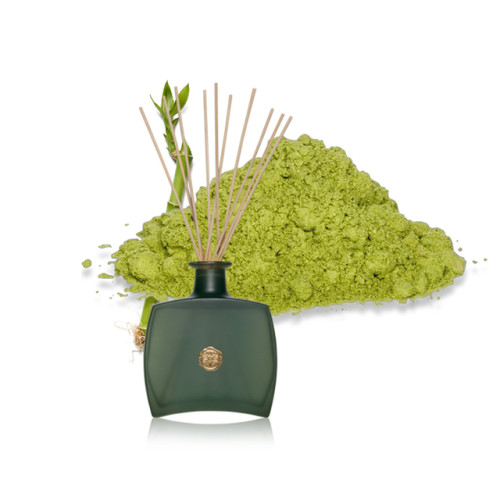 Luxury home decor new design green rattan sticks reed diffuser in green glass bottle