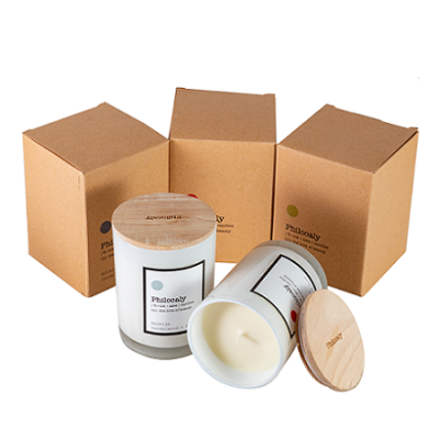 Scented personalized soy wax candle with wood lid