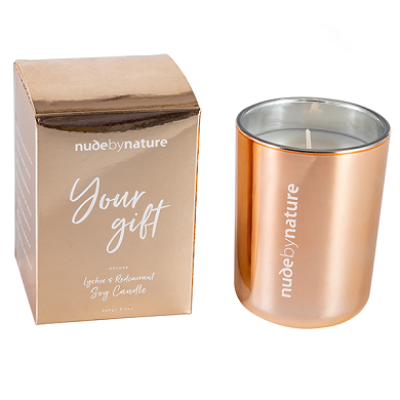 Scented soy candles in luxury rose metal glass jar