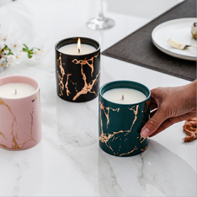 Wholesale Nordic popular home decoration luxury gold grain marble ceramic candle jar with lids