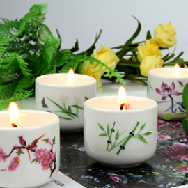 Wholesale customize luxury wedding decoration tealight ceramic jar candle holder for home decor
