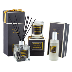 Gift set luxury scented soy customized candle + reed diffuser in glass jar
