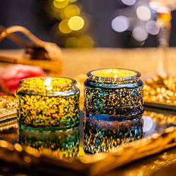 Home Decorative wedding glass Candle Jar With metal Lid scented candle gift set