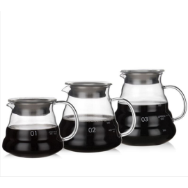 300ml 500ml 700ml 1200ml Heat Resistant Handmade Borosilicate Glass Coffee Pot V60 Coffee Maker