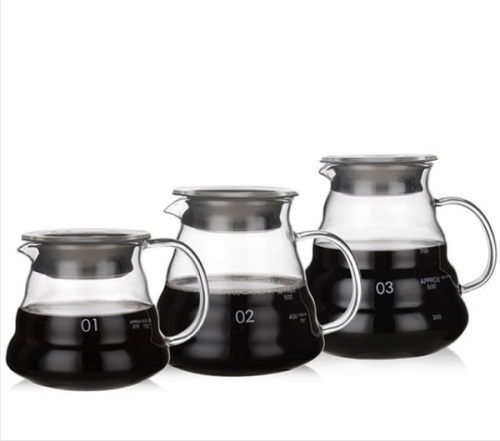 300ml 500ml 700ml 1200ml Heat-proof handmade high borosilicate coffee cloud glass coffee pot