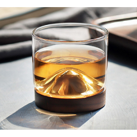 New Arrival 120ml Handmade Borosilicate Glass Drinking Cup With Wooden Tray For Tea or Whisky