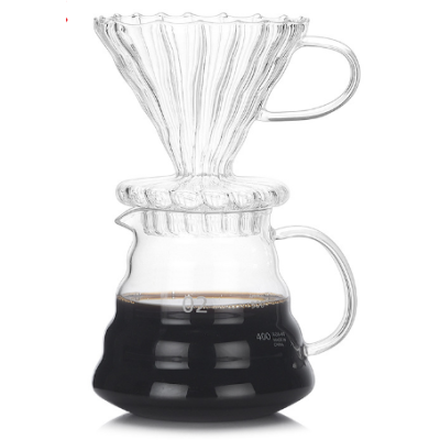 Custom 250ml 360ml 600ml 800ml Handmade Borosilicate Glass Pour Over Cold Brew Coffee Maker With Glass Coffee Dripper