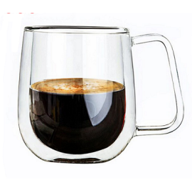 300ml High Borosilicate Double Wall Glass Cup Coffee Mug With Handle