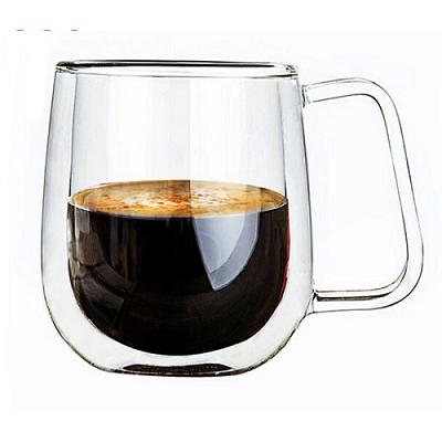 300ml High Borosilicate Double Wall Glass Cup Coffee Mug With Handle