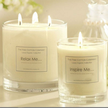 Decorative wholesale wedding fancy luxury three wick white glass jar candle with wooden box