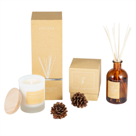 Home Decoration Aroma Perfume Glass Reed Diffuser With Rattan Sticks and Candle for gift set
