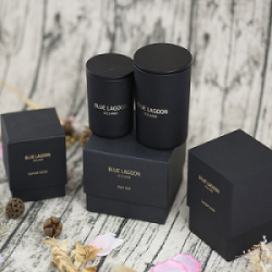 Custom Luxury Round Jar Scented Candle in Black Glass Holder