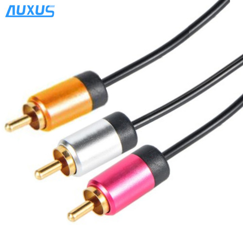high-end new design fashion audio RCA to RCA cable coaxial cable with metal shell promotional