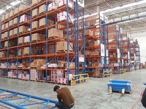 Multi-level steel plate medium pallet warehouse storage rack