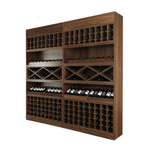 Red wine display shelves with cabinet wooden steel shelf rack