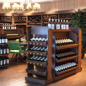 Wine display cupboard shelves with cabinet wooden steel shelf rack