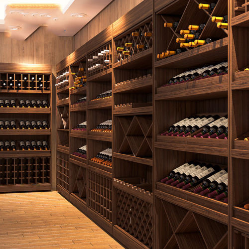 Red wine display shelves with cabinet wooden steel shelf rack