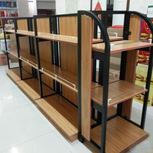 Heavy duty steel wood shelf display case shelve furniture rack