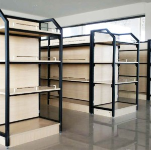 OEM showcase rack storage display shelves case stand steel and wood shelf