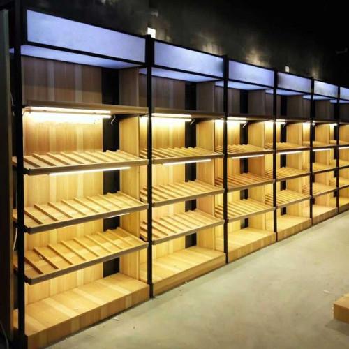 OEM showcase rack storage display shelves case stand steel and wood shelf