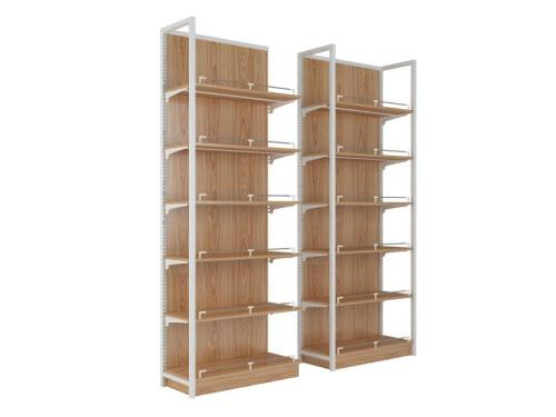Customized showcase rack storage display shelves case stand steel and wood shelf