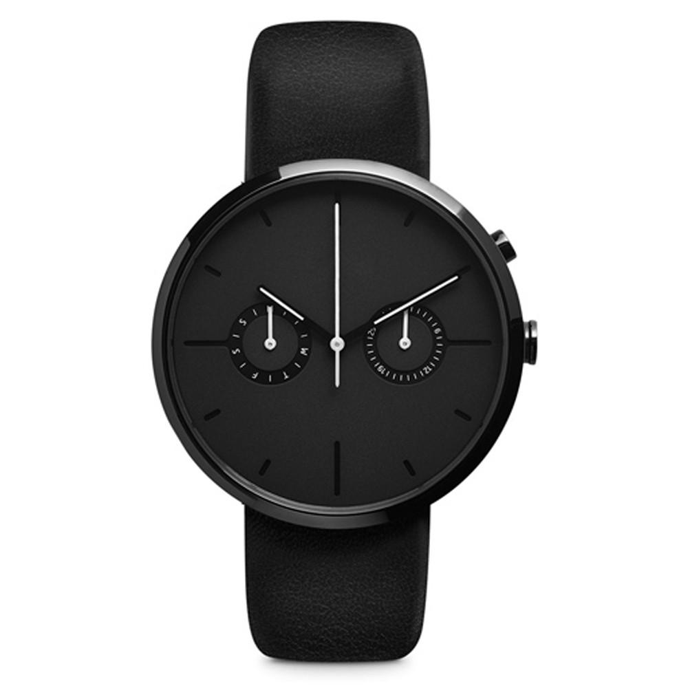 PVD plating men's wrist watch 2 eyes chronograph movement ...