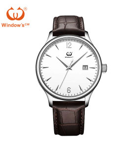 Custom dial design classic date men leather watch factory manufacturer