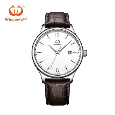 Diseño de marcación personalizada fecha clásica fabricante de fábrica de relojes de cuero para hombres