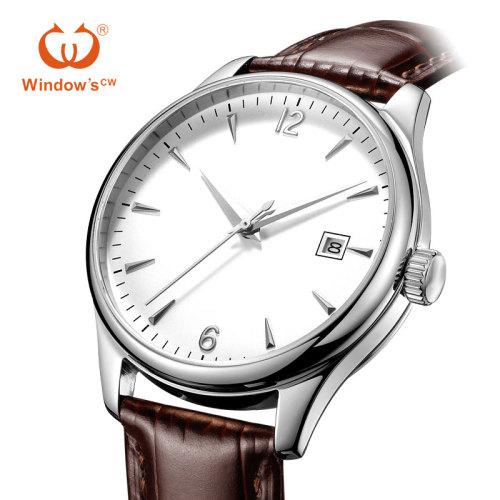 Benutzerdefinierte Zifferblatt Design klassische Datum Männer Leder Uhrenfabrik Hersteller