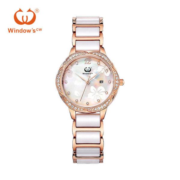 Reloj de mujer de lujo de oro rosa reloj de fábrica de cuarzo de cerámica personalizado
