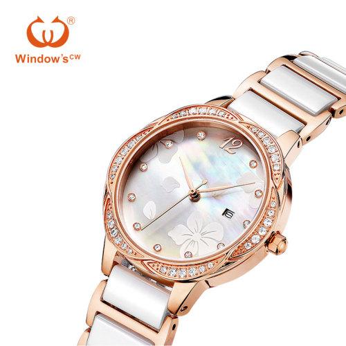 Rose Gold Luxus Frauen sehen benutzerdefinierte Keramik Quarz Fabrik Uhr