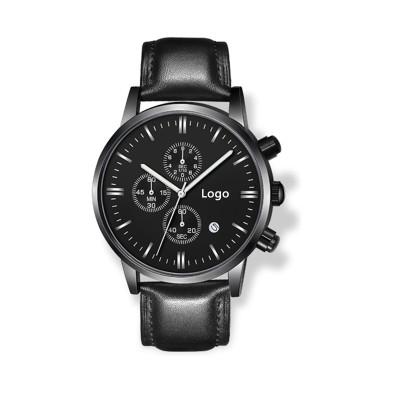 Relógio cronógrafo OEM relógio de couro personalizado para homens