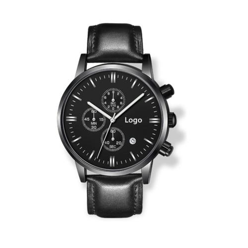 OEM cronógrafo reloj personalizado hombres crono reloj de cuero