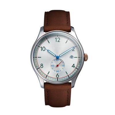 Reloj de hombre de banda de cuero italiano de grano completo y superior de China Watch Factory