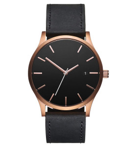 Minimalist Classic Black Tan Leather stainless steel back wrist watch