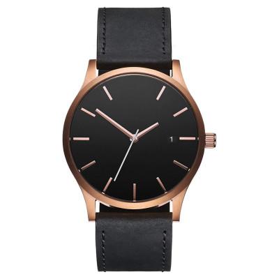الحد الأدنى الكلاسيكي الأسود تان جلدية الفولاذ المقاوم للصدأ ساعة اليد الخلفي
