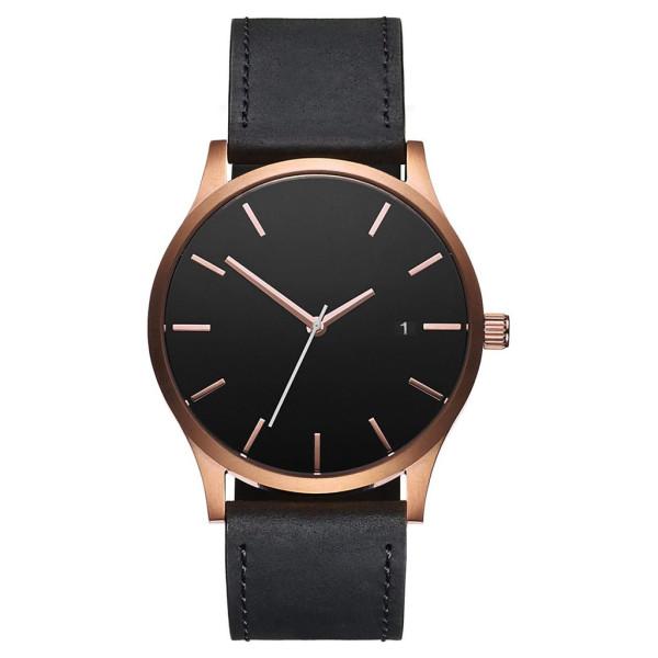 Minimalista clásico reloj de pulsera de acero inoxidable con cuero negro bronceado