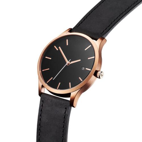Montre-bracelet arrière en acier inoxydable minimaliste classique en cuir brun noir
