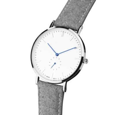 Reloj ultrafino con banda de cuero de tela con movimiento cronógrafo de cuarzo miyota japonés